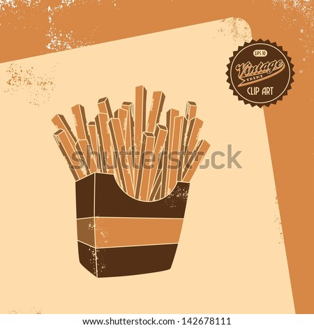 vintage clip art retro theme, french fries - stock vector