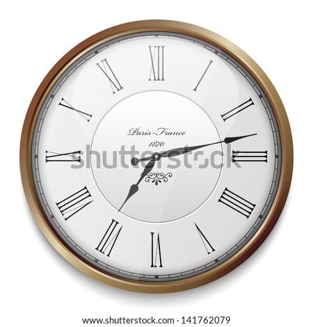 Vintage clock - stock vector