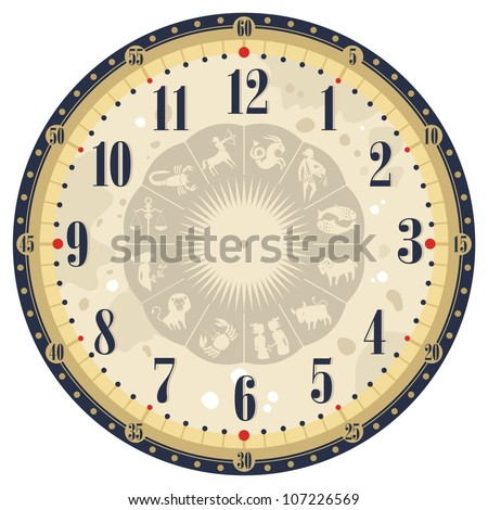 Vintage clock face template with zodiac signs - stock vector