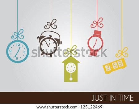 VIntage clock icons over gray background vector illustration - stock vector