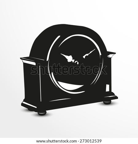 Vintage clock. Vector illustration. Black and white view. - stock vector
