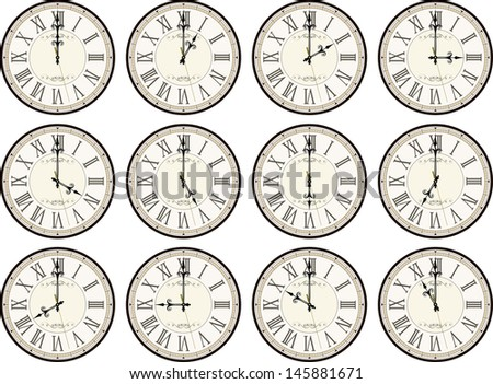 vintage clocks isolated on white background each showing a different time  - stock vector