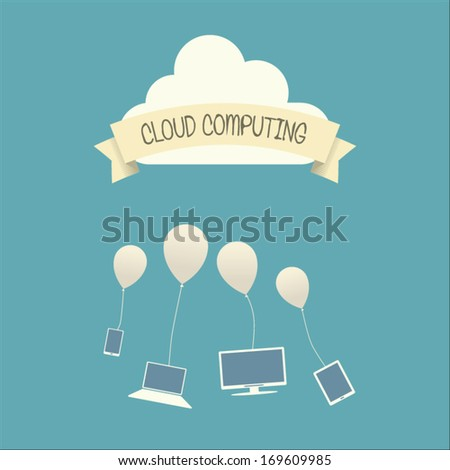 Vintage cloud computing technology concept illustration with devices. Eps10 vector illustration - stock vector