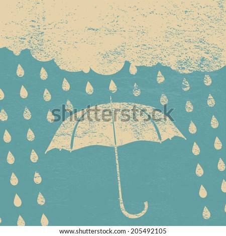 vintage clouds with umbrella and rain drops on a blue background