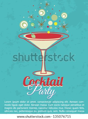 Vintage Cocktail Party Invitation Poster - stock vector