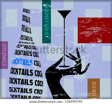 vintage cocktail sign,for bar, pub,restaurant,vector - stock vector