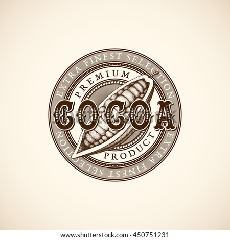 Vintage cocoa label with ink hand drawn sketch of cocoa fruit. Vector illustration.