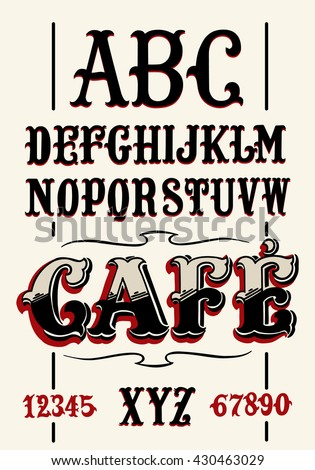 Vintage Coffee Alphabet - stock vector