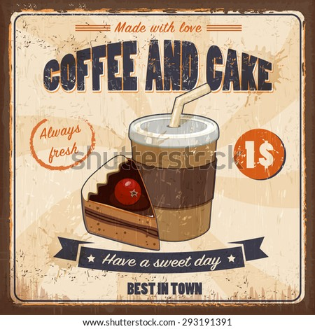 Vintage coffee and cake - vector background
