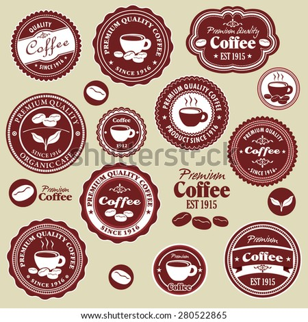 Vintage coffee label design set