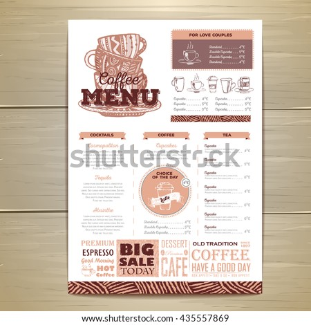 Vintage Coffee Menu Design Stock Vector 435557845 - Shutterstock