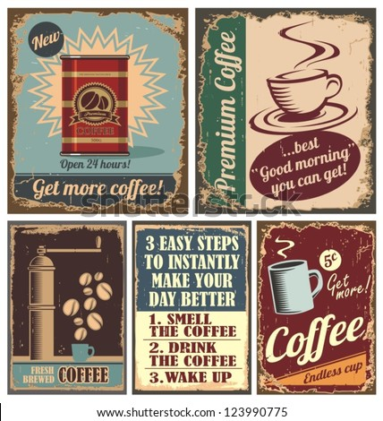 Vintage coffee posters and retro cafe metal signs. Set of vector graphic designs with coffee beans and coffee cup. - stock vector