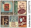 Vintage coffee posters and retro coffee metal signs. Set of coffee vector graphic designs. - stock