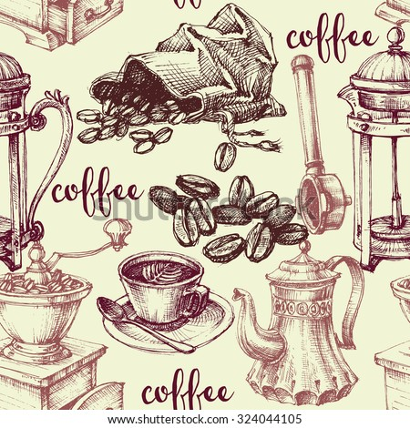 Vintage coffee seamless pattern - stock vector