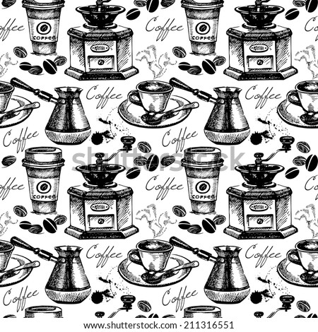 Vintage coffee seamless pattern. Hand drawn vector illustration  - stock vector