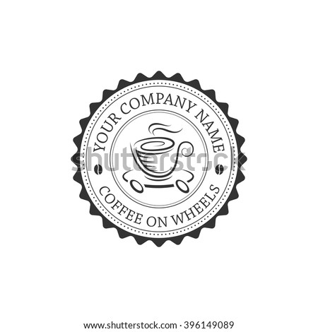 Vintage coffee shop logo design template on white background.Label which can be used as logotype for mobile coffee shop, cafe, restaurant. Coffee on wheels emblem. Vector isolated illustration. - stock vector