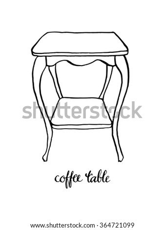 Vintage Dining Table Vintage Furniture Interior Stock Vector