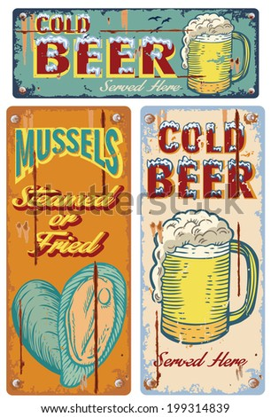 Vintage cold beer signs