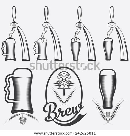 vintage collection of beer and beer dispensers - stock vector
