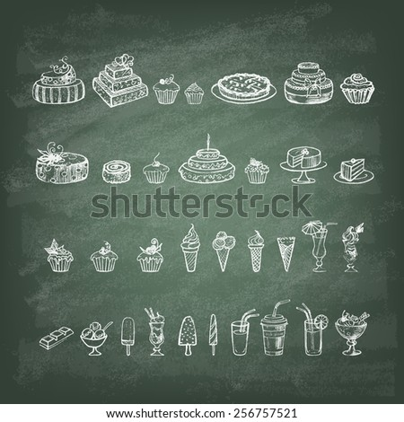 Vintage collection of desserts. Sketches of desserts hand-drawn with chalks on the green blackboard. Vector illustration. - stock vector