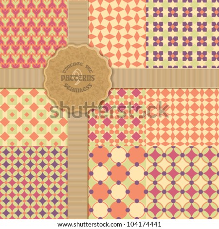 Vintage collection of seamless geometric patterns - stock vector