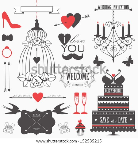 Vintage collection of Vector wedding design elements. Decorative set of holiday objects and signs.