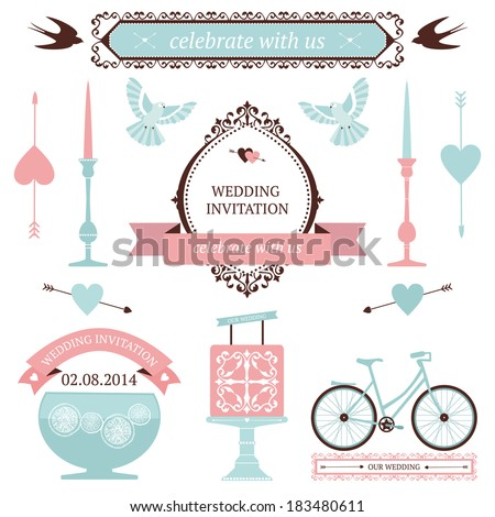 Vintage collection vector wedding design elements stock vector vintage collection of vector wedding design elements decorative set of holiday objects and signs junglespirit Images