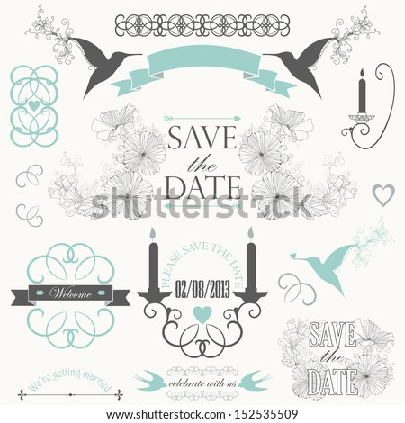 Vintage collection of Vector wedding design elements. Decorative set of ornamental objects and signs. - stock vector