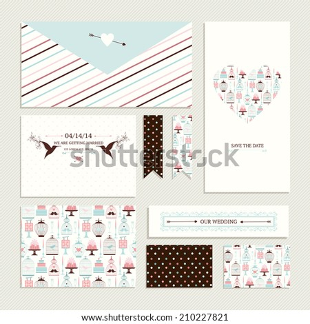 Vintage collection of vector wedding design elements - envelope, cards, brochure, stickers, ribbons, invitation. Decorative greeting cards with decorative food and drinks, colorful stripes and dots. - stock vector