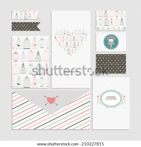 Vintage collection of vector wedding design elements - invitation, envelope, cards, brochure, stickers, ribbons. Decorative greeting cards with decorative birds cages, colorful stripes and dots. - stock vector