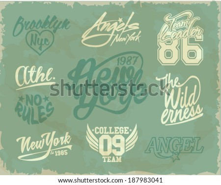 vintage college label set - stock vector