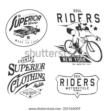 vintage college set for apparel - stock vector