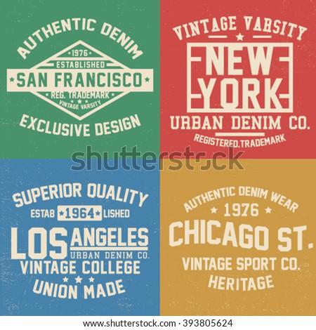 Vintage College Style One Color Tee Print Designs Set