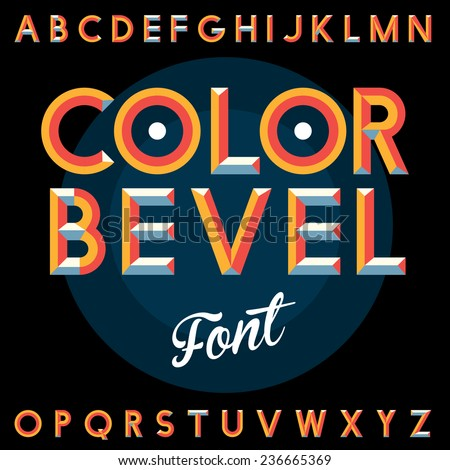 Vintage color bevel label font. EPS10 vector illuatration - stock vector