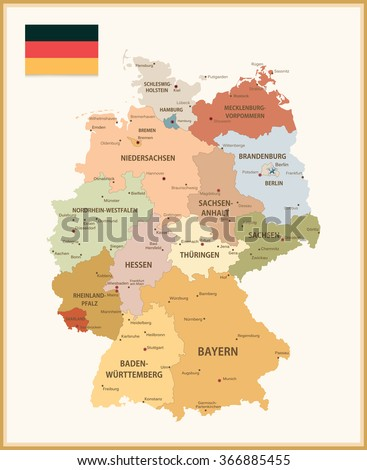 Vintage Color Map of Germany with flag. Highly detailed vector illustration.
