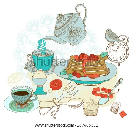 Vintage color morning tea background for beautiful design, Healthy food, VECTOR - stock vector