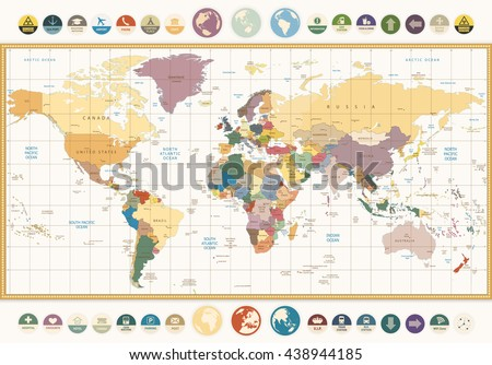 Vintage color political World Map with round flat icons and globes.All elements are separated in editable layers clearly labeled. - stock vector