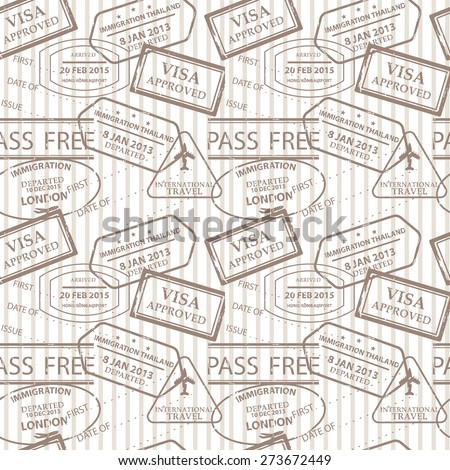 vintage color seamless pattern, stamps of passport control offices from different countries and tourist destinations in a travel and vacation concept - stock vector