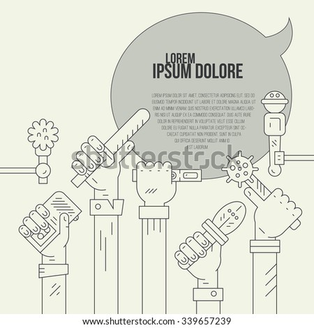 Vintage colored newspaper or hot news template with hands of journalists holding voice recorders and microphones. Live news vector concept with place for your text.  - stock vector