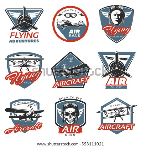 Vintage Colorful Aircraft Logos With Airplanes Pilot Head Skull And Propellers Isolated Vector