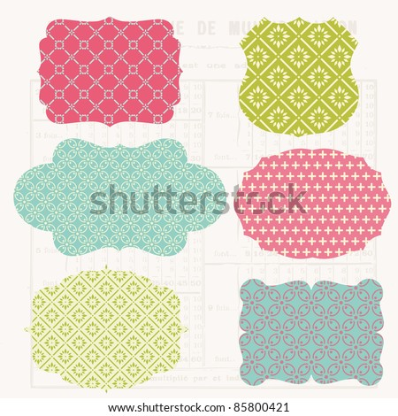 Vintage Colorful Design elements for scrapbook - Old tags and frames in vector - stock vector