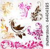 Vintage colorful design elements set for retro design. With leafs and flowers. - stock photo