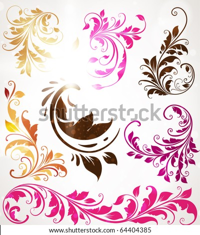 Vintage colorful design elements set for retro design. With leafs and flowers. - stock vector
