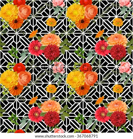 Vintage Colorful Floral Geometry Background - Seamless Pattern - in vector - stock vector