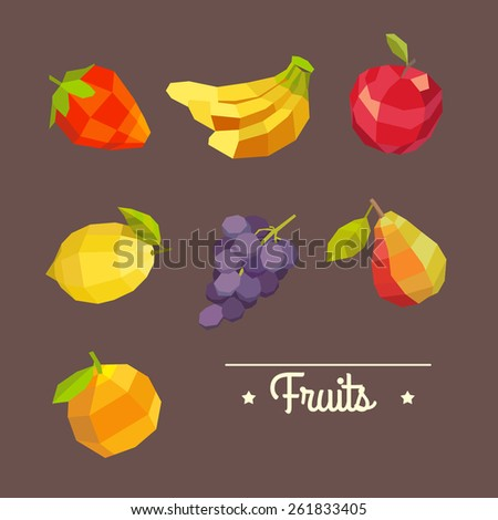 Vintage colorful fruits illustration