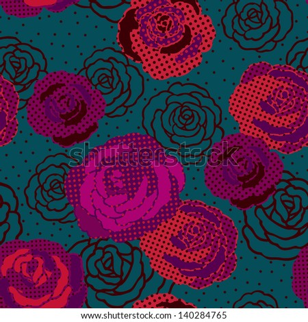 Vintage Colorful Roses Seamless Pattern. Copy that square to the side and you'll get seamlessly tiling pattern which gives the resulting image ability to be repeated or tiled without visible seams. - stock vector