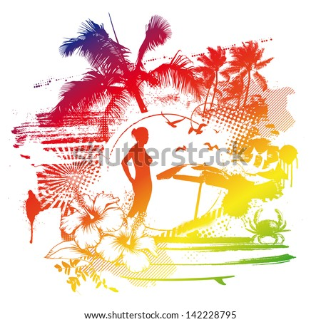 vintage colorful summer scene - stock vector