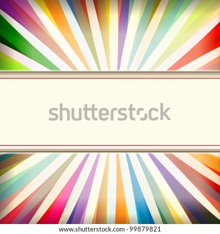 Vintage colorful template with retro sun burst background - stock vector