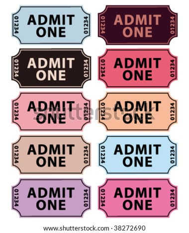 Vintage colors for cinema tickets. Vector collection. - stock vector