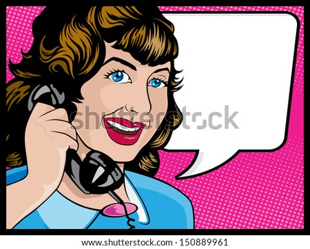 Vintage Comic Style Woman on the Phone  - stock vector